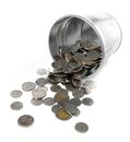 Metal bucket full with coin Royalty Free Stock Images