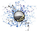 Metal button with floral Royalty Free Stock Photo