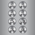 Metal buttons with smiles vector Stock Images