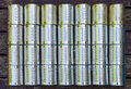 Metal cans background pattern shiny in four rows Royalty Free Stock Photography