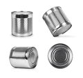 Metal cans in different angles isolated on white Royalty Free Stock Photo
