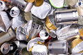 Metal cans and tins prepared for recycling various Royalty Free Stock Photography