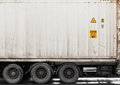 Metal cargo container on lorry fragment of white Royalty Free Stock Photography