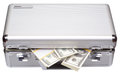 The metal case with dollars and euros isolated on a white background Royalty Free Stock Image