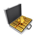Metal case with gold bars. Royalty Free Stock Photo