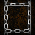 Metal chain frame with grunge background Royalty Free Stock Images