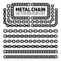 Metal chain links vector pattern brushes set Royalty Free Stock Photo