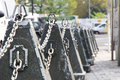 Metal chain railing on street in tokyo japan Stock Photography