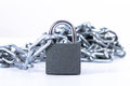 Metal chain and security lock heap of with isolated on white background Stock Images