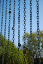 Metal chains with locks on the nature Royalty Free Stock Photo