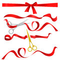 Metal chrome and golden scissors cutting red silk ribbon. Realistic opening ceremony symbols Tapes ribbons and scissors