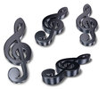 Metal clefs on white background