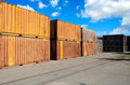 Metal containers in the open wearhouse Stock Photos