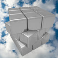 Metal cube in the sky image depicts a of polished with a background various faces that make up could be applied to any Stock Image