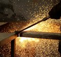 Metal cutting with gas fire sparks falling due to of steel cutter Stock Photography