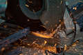 Metal cutting or welding in manufactory Royalty Free Stock Photo