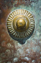 Metal decorative element ancient on a rusty castle gate Royalty Free Stock Image