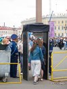 Metal detectors at palace square st petersburg may the access to on city day is restricted with due to a high level of terrorist Royalty Free Stock Image