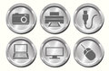 Metal device buttons a set of shiny metallic Stock Photo