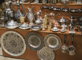 Metal dishware shop Royalty Free Stock Image