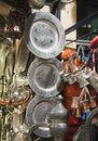 Metal dishware shop grand bazaar istanbul Stock Images