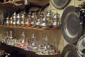 Metal dishware shop grand bazaar istanbul Royalty Free Stock Photos