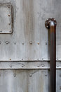 Metal door close up of with handle Stock Photo