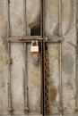 Metal Door with Padlock Royalty Free Stock Photo