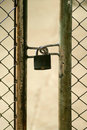 Metal doors padlocked grunge gate old Stock Photos
