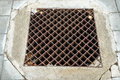 Metal drain cover image of rusty Stock Photo