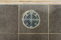 Metal drain hole in the tiled floor of a shower Royalty Free Stock Images