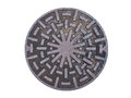 Metal drain lid on isolated background and abstract metallic circle art design Stock Photos