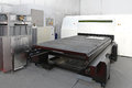Metal fabrication laser cutting machine for plate Royalty Free Stock Photos