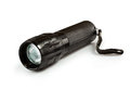 Metal flashlight. Isolated on white background Royalty Free Stock Photo