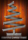 Metal Folding Rule Christmas Tree Royalty Free Stock Photography