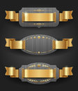Metal frames with golden decor and ribbons Stock Photography