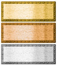 Metal frames silver gold and bronze with clipping path isolated Stock Photography
