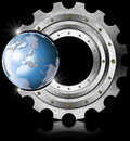 Metal gear and blue globe industrial background with terrestrial Royalty Free Stock Images