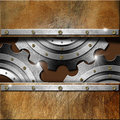 Metal Gears on Grunge Background Royalty Free Stock Photo