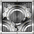 Metal gears on metal grid background three metallic industrial Royalty Free Stock Photo