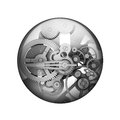Metal gears. Spherical glossy button Royalty Free Stock Photo