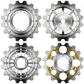 Metal gears on a white background four and gold with bolts isolated Stock Photos