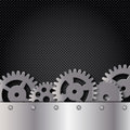 Metal and glass background with frame and gears Stock Photo