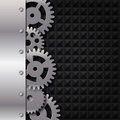 Metal and glass background with frame and gears Stock Image