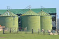 Metal green farm  silos Royalty Free Stock Images