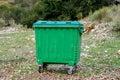 Metal green garbage