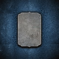 Metal grunge effects plate with blue textures background Royalty Free Stock Photos
