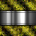 Metal on grunge striped background style with a plate a yellow and black pattern Stock Photo