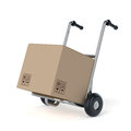 Metal hand truck with cardboard package boxes isolated on white background Stock Photo