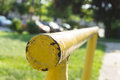 Metal handrail close up of Royalty Free Stock Photo